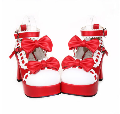 Lolita Bow Lace High-Heeled Princess Shoes (various colors) HF00123