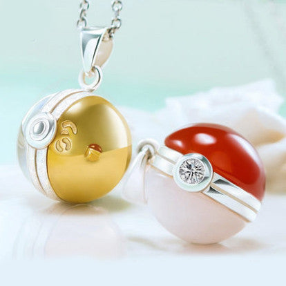 [Pokemon] Red and Gold Pokeball 925 Sterling Silver Necklace HF00589