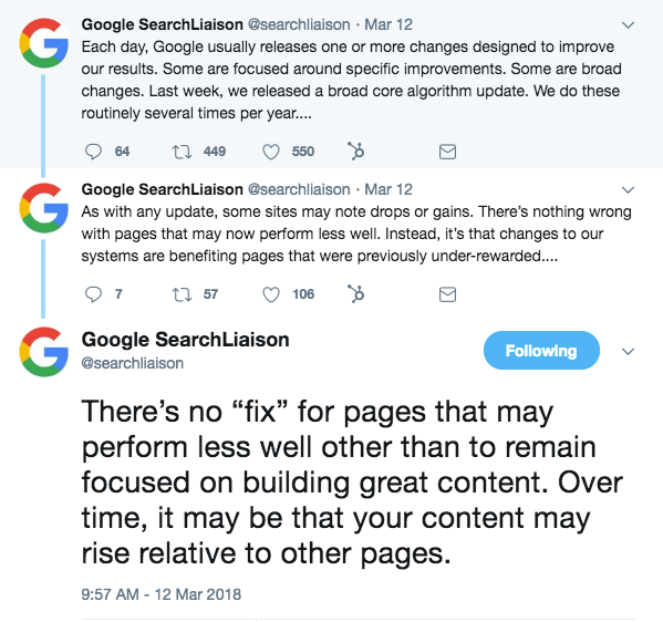 Google on Algorithm Change on Aug 1st