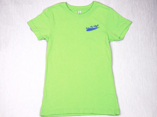 Girls T-Shirt: Fine Jersey - Lime Green - Love The Island