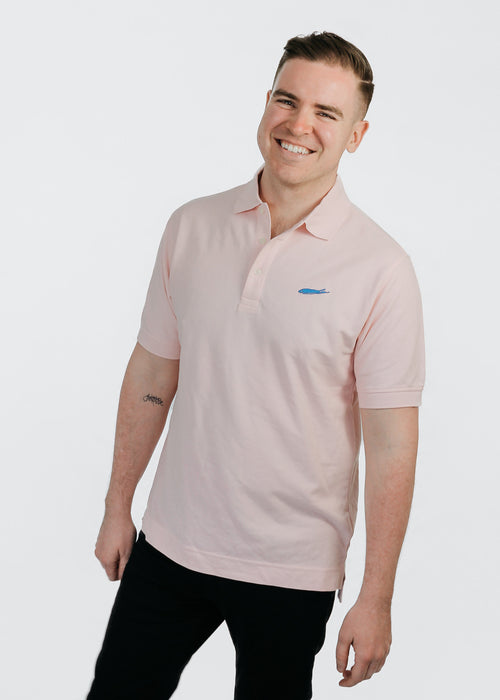 Men's Polo: 100% Pima Pique Cotton - Short Sleeve - Pink - Love The Island