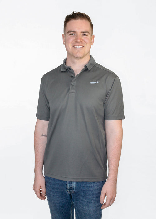 Long Island Performance Polo Shirt - Long Island Golf Shirt - Love The Island - Performance Polo - Steel Grey