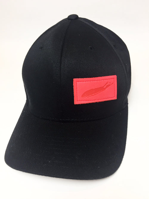 Hats: Black Flexfit With Red Patch