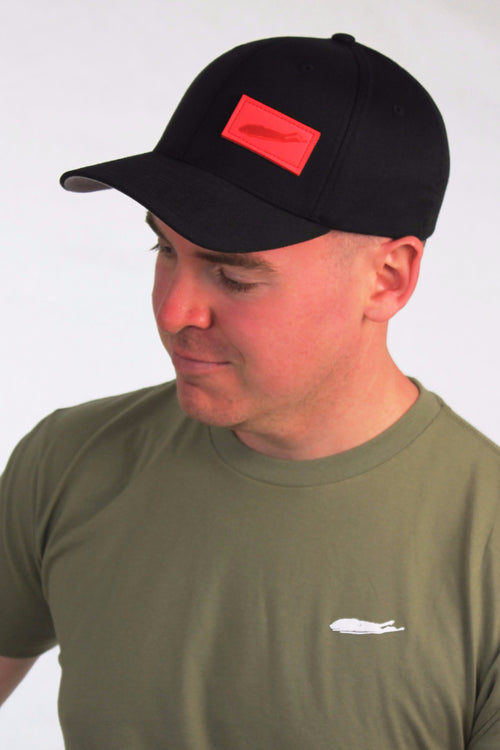 Long Island Flexfit Hat - Black With Red Patch - love the island - long island