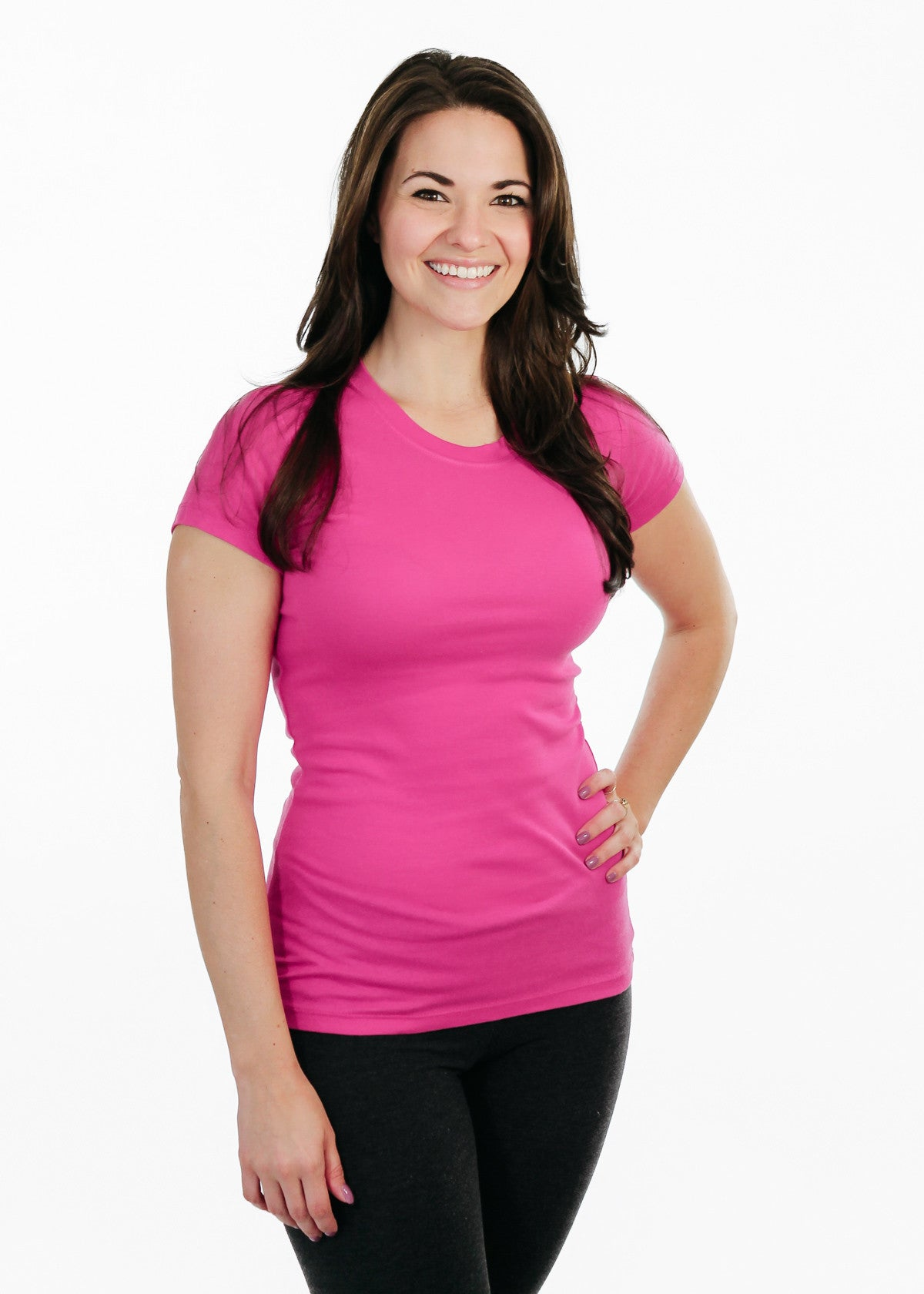 Ladies T-Shirt: Sheer Rib Longer Length - Berry - Love The Island