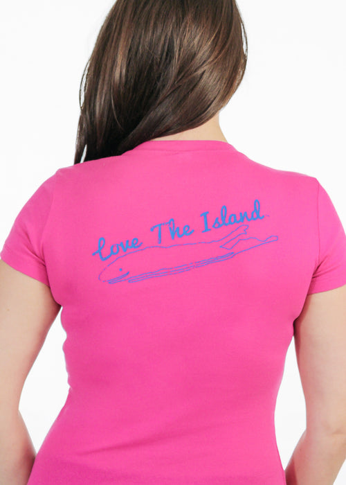 Long Island Ladies T-Shirt - Love The Island - Ribbed - Berry