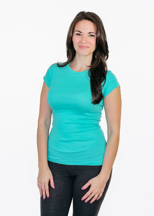Ladies T-Shirt: Sheer Rib Longer Length - Teal - Love The Island