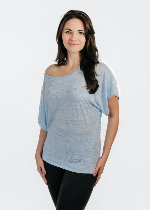 Long Island Ladies Shirt - Love The Island - Flowy Dolman Sleeve - Blue Marbel
