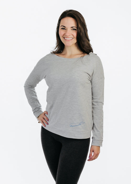 Ladies T-Shirt: Terry Long Sleeve Scoop - Heather Grey - Love The Island