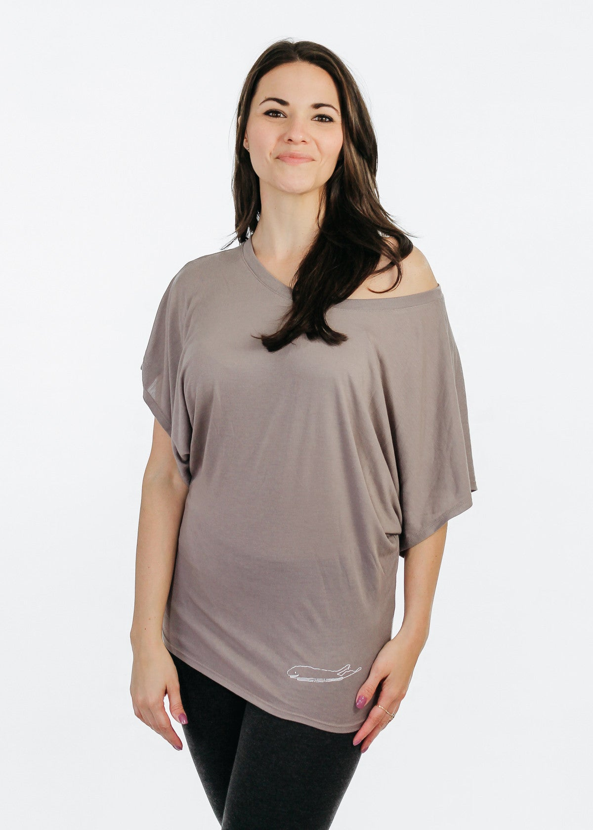 Ladies Shirt: Flowy Dolman Sleeve - Brown Pebble - Love The Island