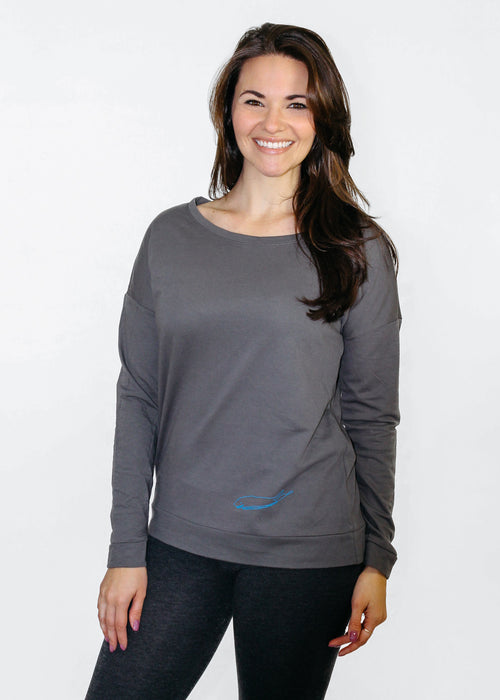 Ladies T-Shirt: Terry Long Sleeve Scoop - Dark Grey - Love The Island