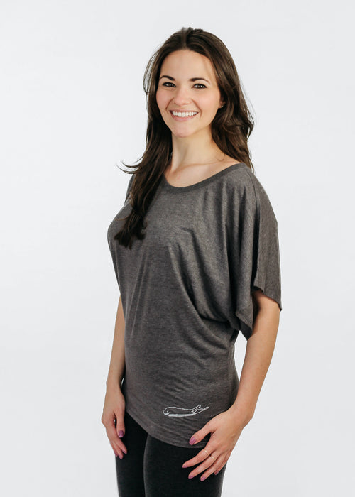 Long Island Ladies Shirt - Love The Island - Flowy Dolman Sleeve - Dark Grey Heather