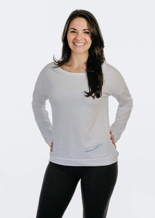 Ladies T-Shirt: Terry Long Sleeve Scoop - White - Love The Island