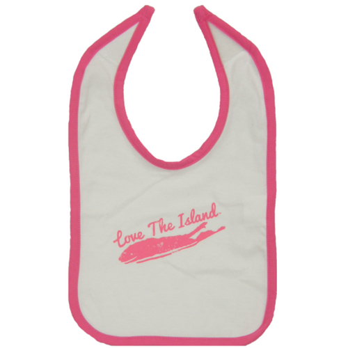 Long Island Bib - White with raspberry Trim - love the island - long island