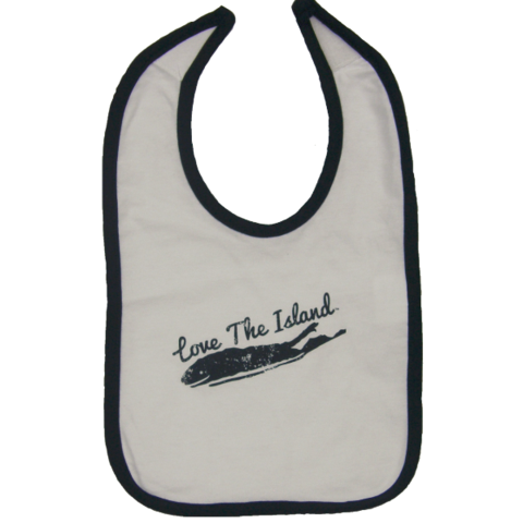 Infant Bib - White / Dark Blue Trim - Love The Island