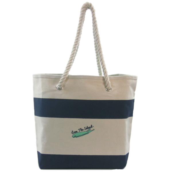 TOTE: Rope Handle Cotton Canvas Tote - Love The Island