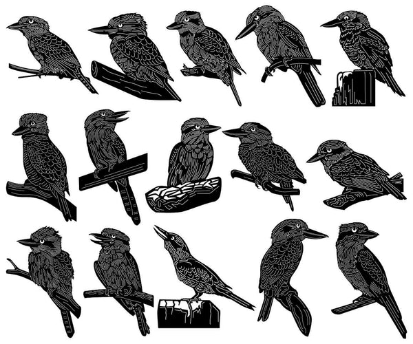 Australian Kookaburra Tree Kingfishers Bird-DXF files Cut Ready for CNC-DXFforCNC.com