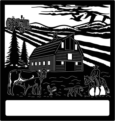 Barn, Field, Tractor, trees, Chicken, Dog, Cows and Cowboy scene, Custom