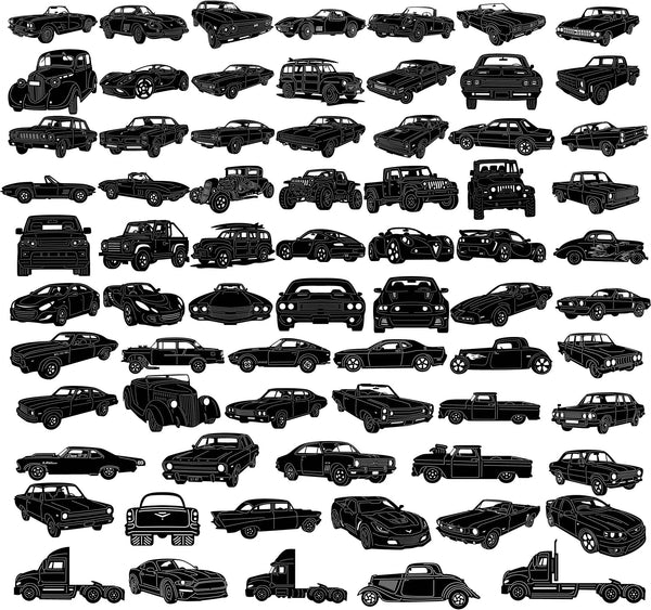 Cars Classic, Hot Road, Muscle, Truck-DXF files Cut Ready CNC Designs-dxfforcnc.com