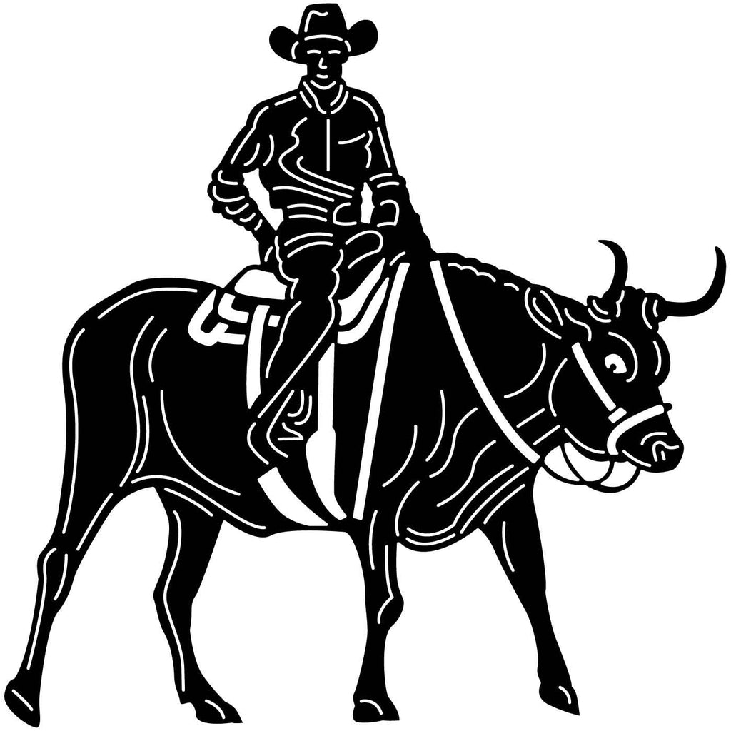 Cowboy and Bull Views-DXF files cut ready for cnc -DXFforCNC.com