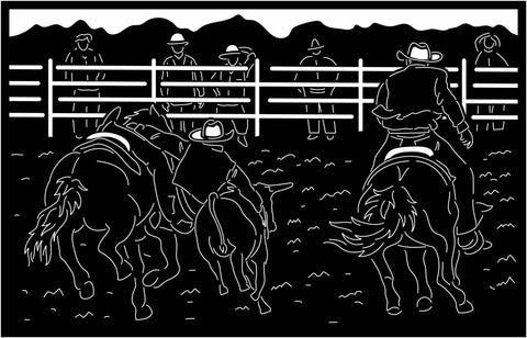 Cowboy Catching Cow Scene-DXF files Cut Ready for CNC-DXFforCNC.com