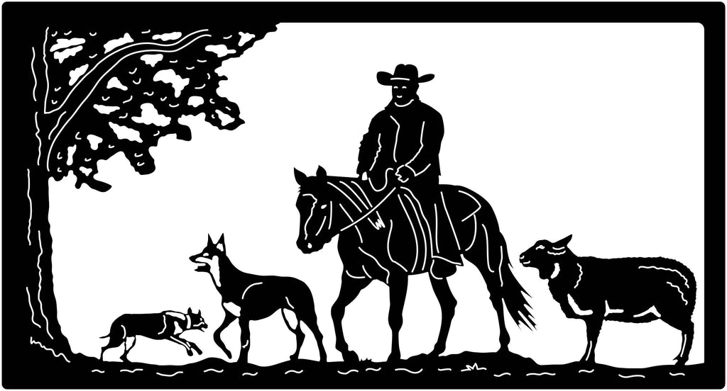 Cowboy Sheep and dogs farm view-DXF files cut ready for cnc machines-dxfforcnc.com