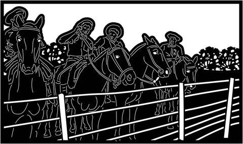 Cowboys and Fence View-DXF files Cut Ready for CNC-DXFforCNC.com