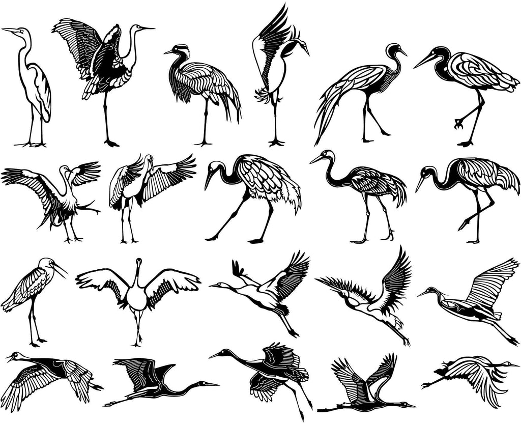 Crane Long Necked Birds Song-DXF files Cut Ready for CNC-DXFforCNC.com