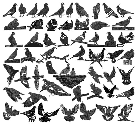Doves and Pigeons Birds-DXF files Cut Ready for CNC-DXFforCNC.com