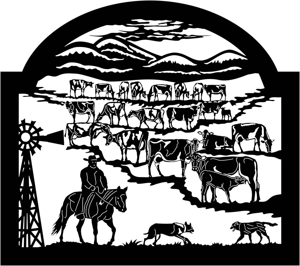 Farm Scene Cowboy, Cows Cattle, Dogs and Mountains-DXF files cut ready for cnc