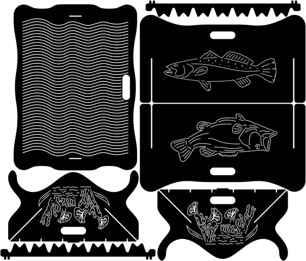 Fire Pit Collapsible Trout and Bass Fishes-dxf files cut ready for cnc