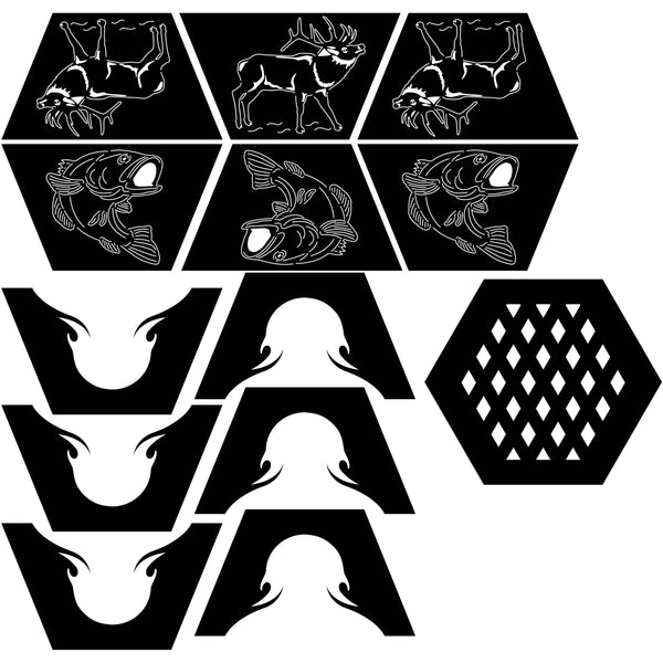 Fire Pit Hexagon Deer and Fish-DXF files Cut Ready for cnc-dxfforcnc.com