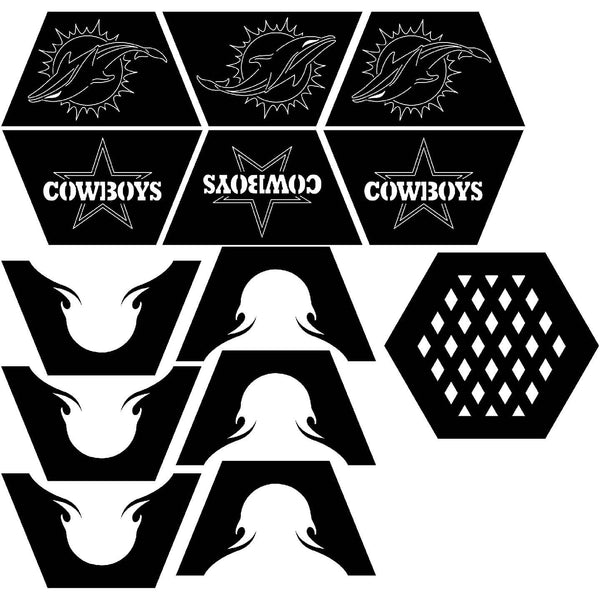 Fire Pit Hexagon Miami Dolphins and Dallas Cowboy logos-dxfforcnc.com