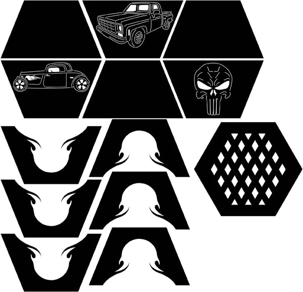 Fire Pit Hexagon Truck, Hot Rod and Punisher-dxf files cut ready for cnc-dxfforcnc.com