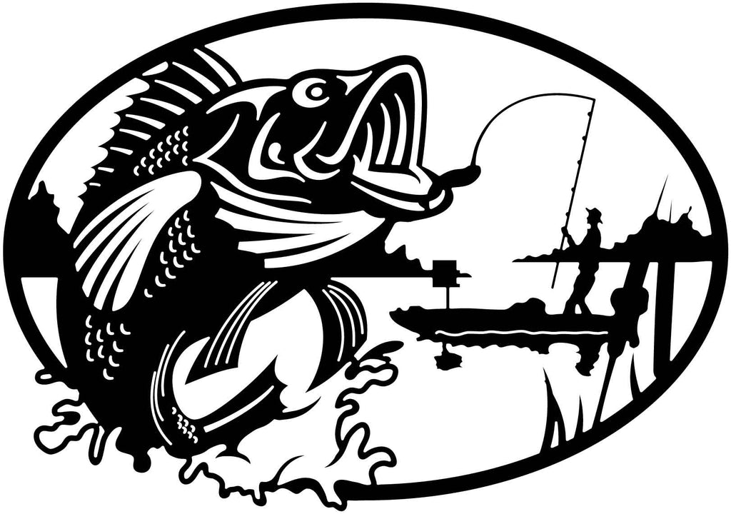 Fishing and Fisher Man Scene Oval-DXF File cut ready for CNC machines-dxfforcnc.com