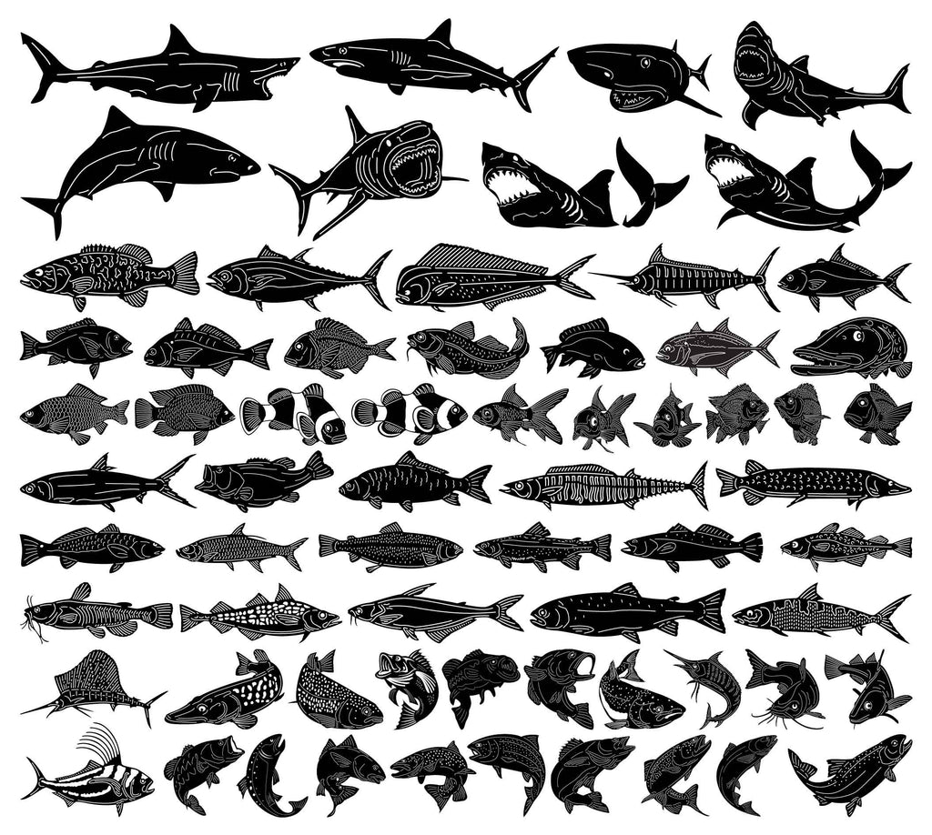 Underwater Ocean and Sea Fishes-DXF files Cut Ready CNC Designs-DXFforCNC.com