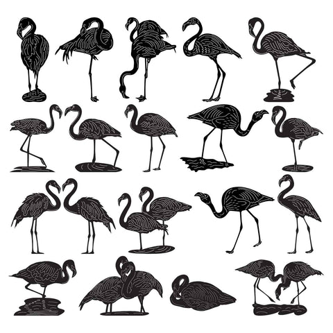 Flamingos Birds-dxf files cut ready for cnc machines-dxfforcnc.com