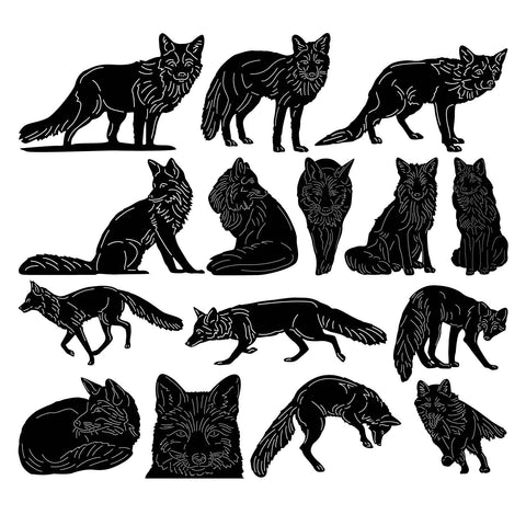 Wild Foxes-dxf files cut ready for cnc machines-dxfforcnc.com