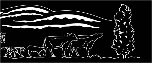Fire pit Cowboy, Windmill, Hills, Cows, and poplar trees Scene-dxf files
