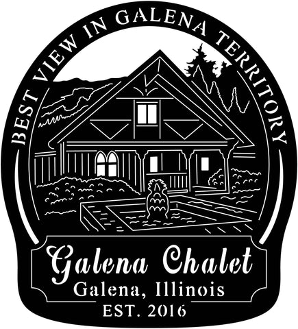Galena Chalet Sign-dxf file cut ready for cnc machine-dxfforcnc.com