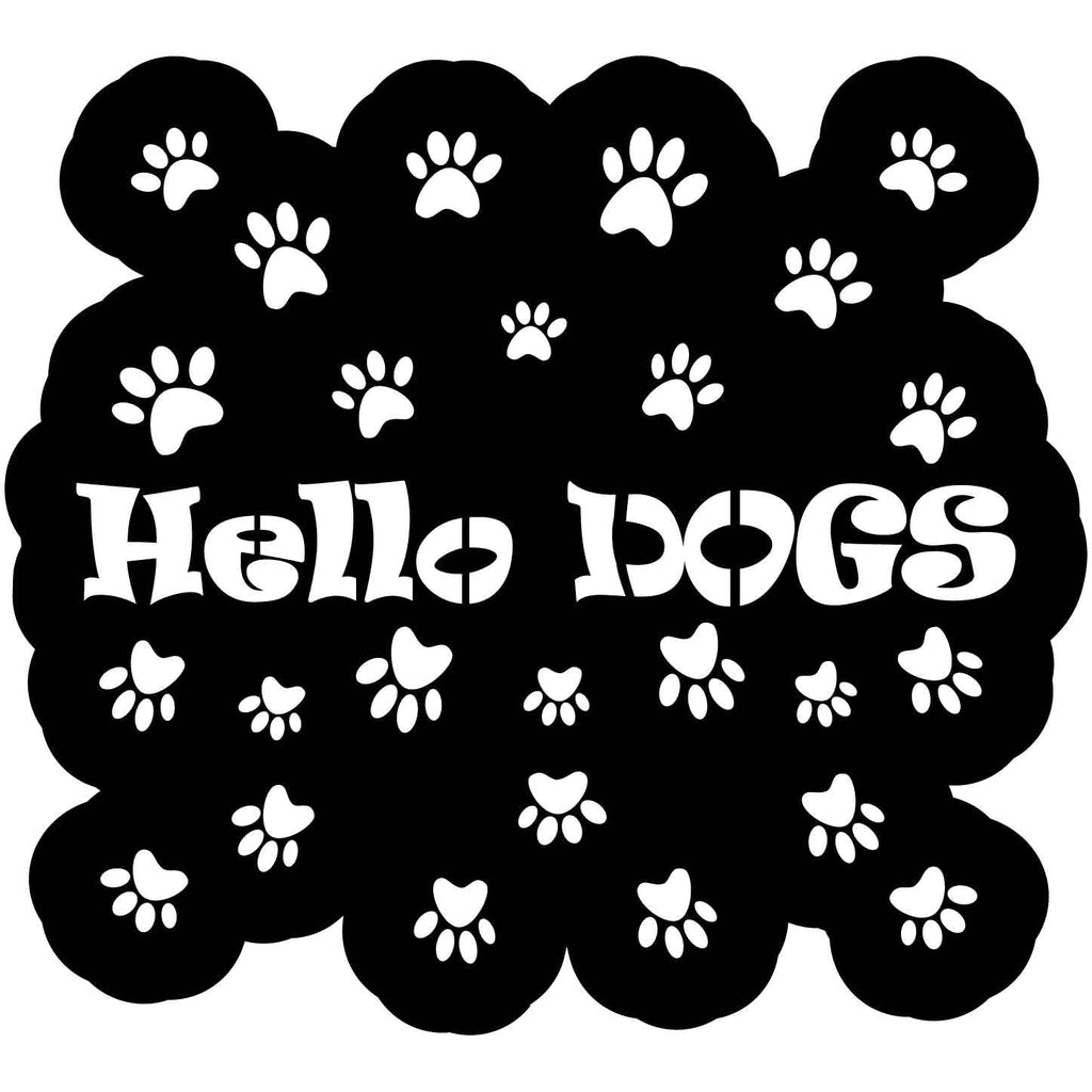 Hello Dogs Sign with Footprints Free DXF file-Cut Ready for cnc-DXFforCNC.com