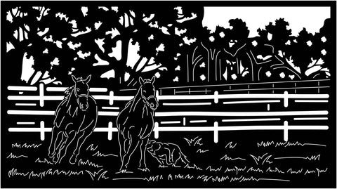 Horses in Fence View-DXF files Cut Ready for CNC-DXFforCNC.com