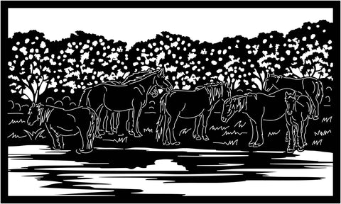 Horses Down by River View-DXF files Cut Ready for CNC-DXFforCNC.com