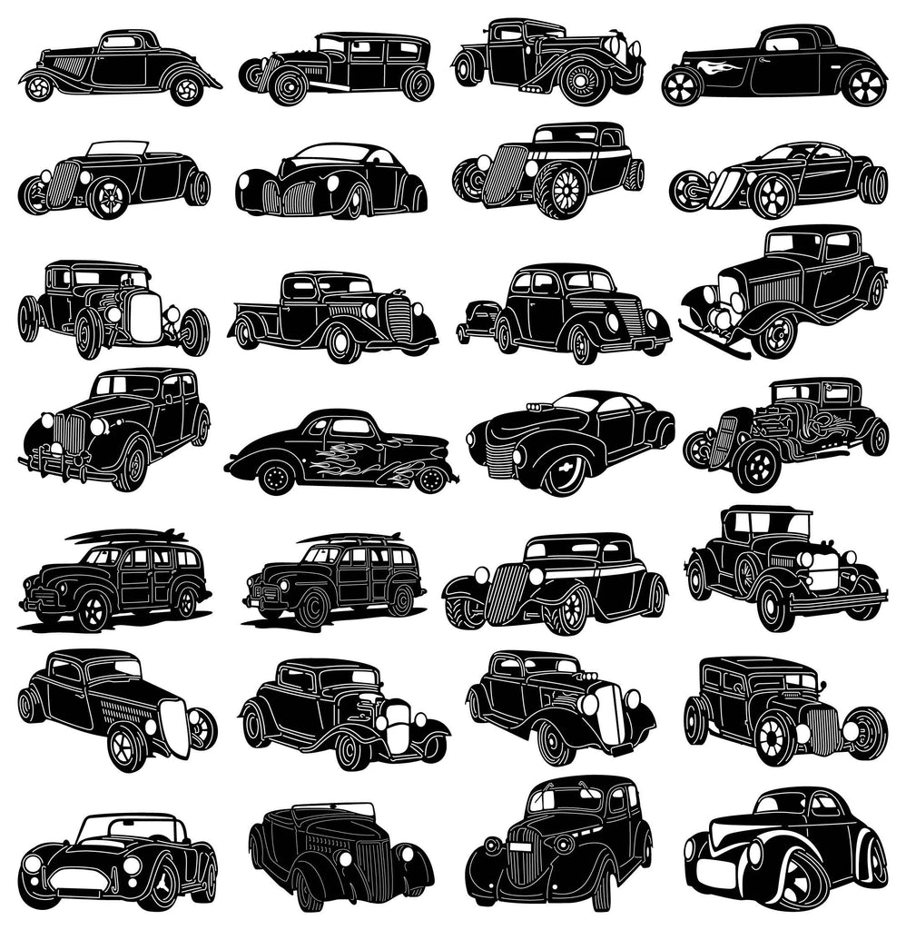 Hot Road Classic Cars-DXF files Cut Ready CNC Designs-DXFforCNC.com