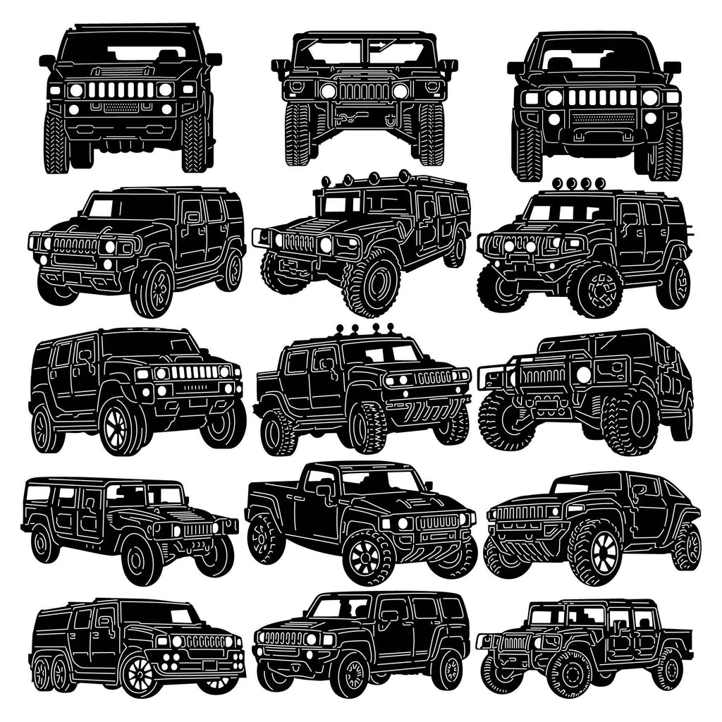 Hummer Trucks and Cars-dxf files cut ready for cnc machines-dxfforcnc.com