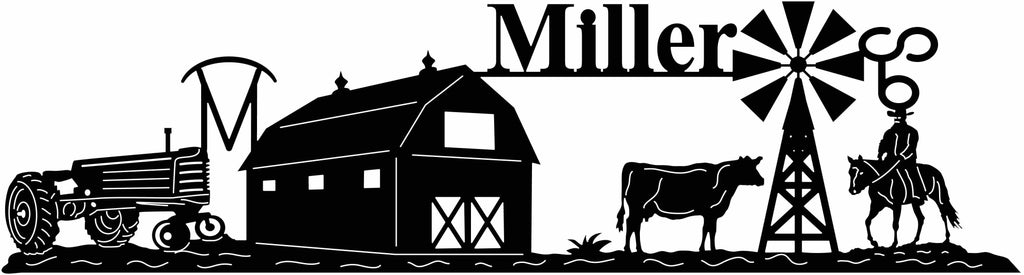 Miller Farm sign-dxf file cut ready for cnc machines-dxfforcnc.com