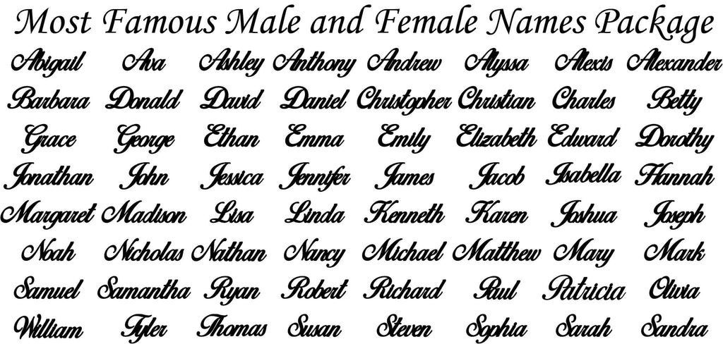 Most Popular Male and Female Names-DXFforCNC.com-DXF Files cut ready cnc machines