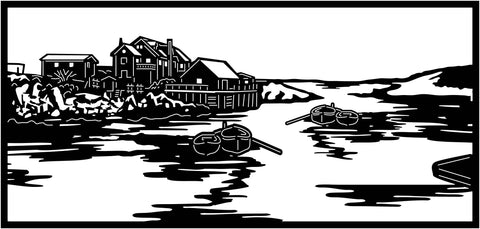 Old House, Lake and Boats View-DXF files Cut Ready for CNC-DXFforCNC.com