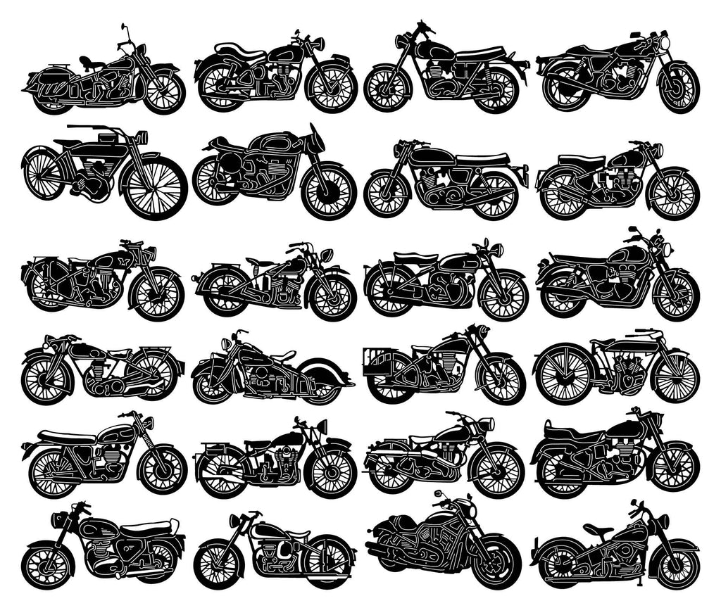 Old Motorcycle and Chopper Bike-DXF files Cut Ready CNC Designs-DXFforCNC.com