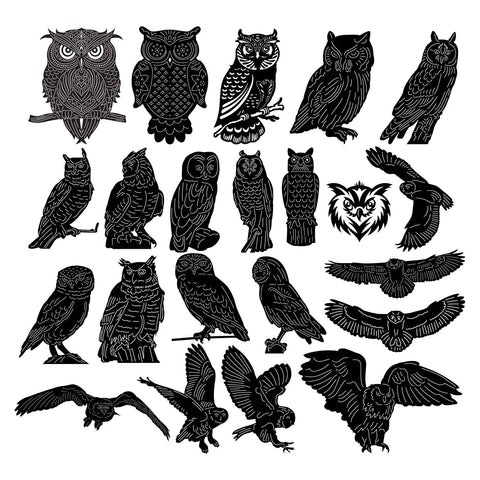 Owls Birds-dxf files cut ready for cnc machines-dxfforcnc.com